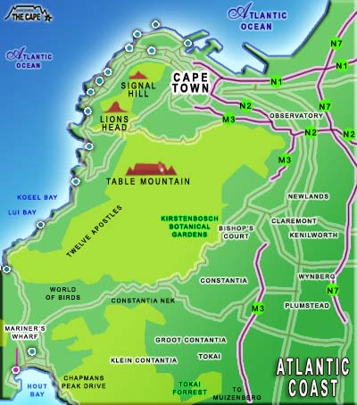 Atlantic Coast Cape Town Accommodation Southern Suburbs Map Search